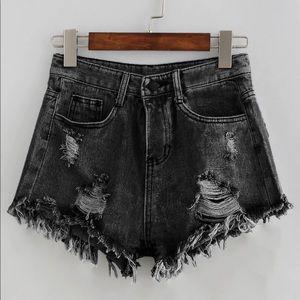 Bleach wash distressed denim shorts